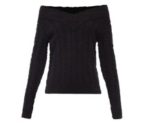 Off-the-shoulder Ribbed Wool-blend Sweater