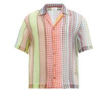 Houndstooth-stripe Cuban-collar Silk-organza Shirt