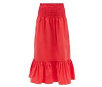 Artie Shirred Cotton Midi Skirt
