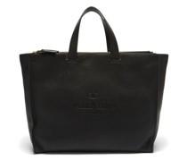 Logo-debossed Grained-leather Tote Bag
