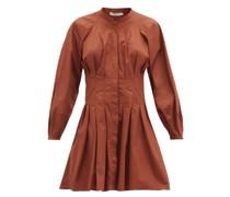 Viola Pleated Cotton-poplin Mini Dress