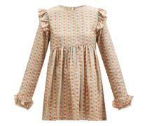 Ruffled Floral-print Silk-twill Blouse
