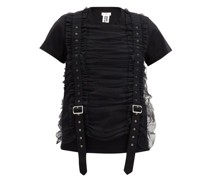 Ruched-tulle Strapped Cotton T-shirt