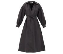 llared V-neck tton-blend Midi Dress