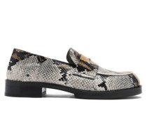 Logo-embellished Snake-print Leather Penny Loafers