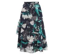 Zennia Leighton Tulip-print Flounced Silk Skirt