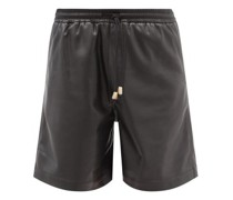 Doxxi Elasticated-waist Faux-leather Shorts