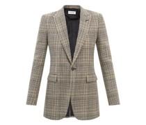 Single-breasted Check Wool Blazer