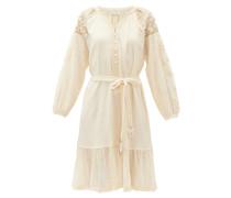 Colombine Belted Crinkled-gauze Dress
