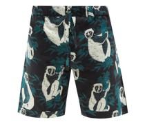 Sifaka Lemur-print Cotton-poplin Pyjama Shorts