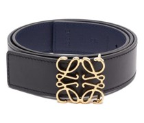 Anagram-buckle Reversible Leather Belt