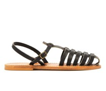 Adrien Caged Leather Slingback Sandals