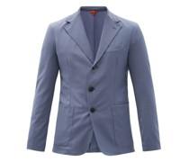 Piero Elga Wool-blend Sharkskin Suit Jacket