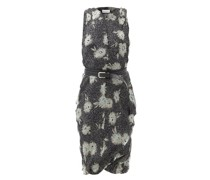 Belted Floral-print Silk-chiffon Dress