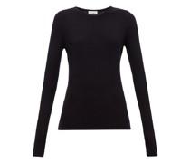 Crew-neck Fine-rib Cashmere Sweater