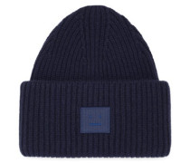 Pansy Face-patch Wool Beanie Hat