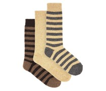 Pack Of Three Striped And Plain Wool-blend Socks