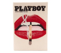 Playboy Lips Appliqué Canvas Book Clutch
