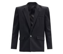 Padded-shoulder Single-breasted Cotton Jacket