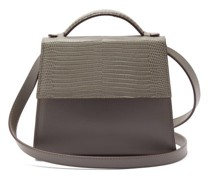 The Top Handle Small Leather And Lizard Bag