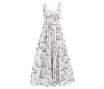Elita Boat-print Cotton-poplin Midi Dress