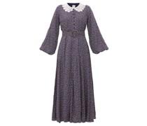 Lace-collar Polka-dot Maxi Dress
