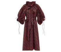 Alice Ruffled-neck Floral-print Cotton Midi Dress