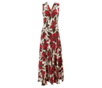 Floral-print Panelled Crepe Maxi Dress
