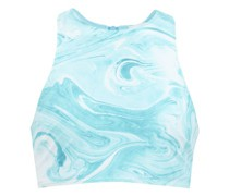 Abstract-print Recycled Fibre-blend Bikini Top