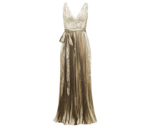 Arely Pleated Silk-blend Lamé Jumpsuit