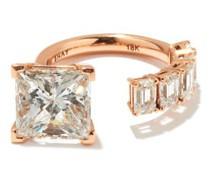 Floating Princess Diamond & 18kt Rose-gold Ring