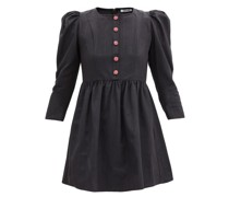 Crystal-button Puff-sleeved Satin Mini Dress