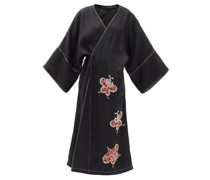 Kyoto Butterfly-embroidered Linen Wrap Dress