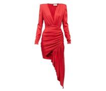 Plunge-neck Draped Silk-blend Mini Dress