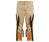 Laced Panelled Technical-poplin Trousers