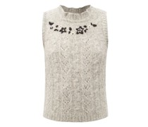 Floral-embroidered Alpaca Sweater Vest