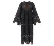 Victoire Embroidered Linen Midi Dress