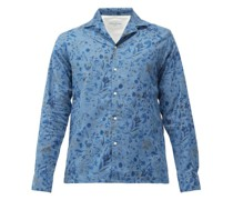 Cuban-collar Floral-print Linen-blend Shirt