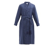 York Belted Check Wool Robe