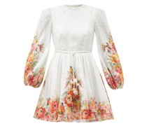 Mae Belted Floral-print Linen-voile Mini Dress