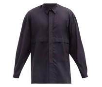 Concealed-pocket Cotton-poplin Shirt