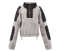 Mathis High-neck Panelled Cotton-fleece Sweater