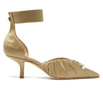 Crescent-moon Ruched Satin Pumps