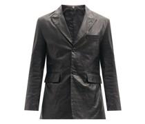 Single-breasted Crocodile-effect Leather Jacket