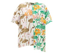 Asymmetric Floral-print Jersey T-shirt