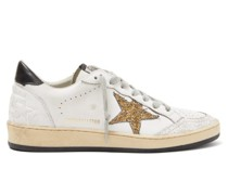 Ball Star Glitter-appliqué Leather Trainers
