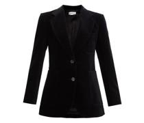 Single-breasted Cotton-blend Velvet Blazer
