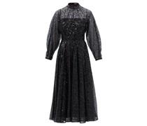 Artemis High-neck Sequined-tulle Midi Dress