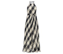 Halterneck Open-weave Checked Cotton Dress