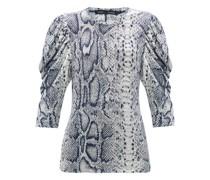 Puffed-sleeve Snake-print Cotton T-shirt